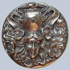 Art Nouveau Crystal Dresser Jar w/Sterling Top