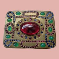 Superb Silver Gilt Box with Gemstones:Sapphires, Rubies, Chrysoprace