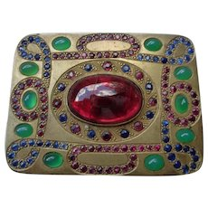 Superb Silver Gilt Box with Gemstones:Sapphires, Rubies, Chrysoprace