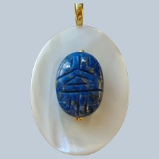 Lapis Scarab Pendant on a Mother-of-Pearl Fitting G.F. Bail