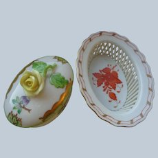Two Herend Porcelain Dishes, Queen Victoria & Chinese Bouquet Patterns