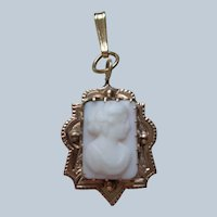 Victorian Angel Skin Coral Cameo Pendant 14K Gold