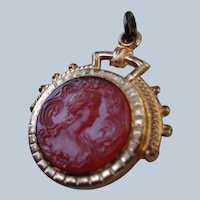 Art Nouveau Pendant Double-Sided Carved Carnelian G.F.