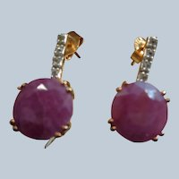 Stunning Ruby Earrings in Silver Gilt with White Topaz 3 Carats