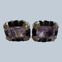 Genuine Amethyst Earrings w/ Pearls and Black Lacquer Set in Sterling
