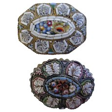 Two Lovely Micro-Mosaic Pins/Brooches 1930 Italy