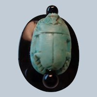 Natural Scarab on Onyx with Beads and Sterling Bail