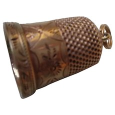 50% OFF 14K Gold Thimble and Charm 1881
