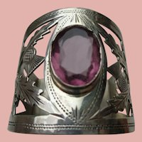 Magnificent English Sterling Napkin Ring w/ Genuine Amethyst 1916