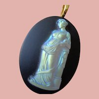 Stunning Opalescent Glass Pendant of Classical Figure