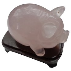 Adorable Pig in Pink Quartz with Rosewood Stand