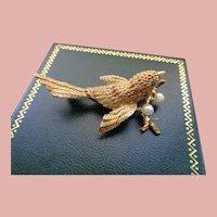 Magnificent 14K Golden Bird w/FannedTail/Emeralds+Pearls