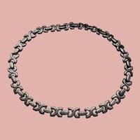 Solid Silver Necklace, Modernist Motif 64grams of Sterling