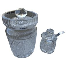 Two Waterford Crystal Jars for Jam and Mustard w/Sterling Spoon