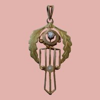 Diamond Laveliere with seed pearl Art Nouveau 10K
