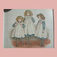 3 Kate Greenway Antique Prints Matted