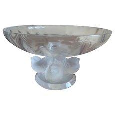 Lalique Nogent Bowl, with Satin Birds, Signed