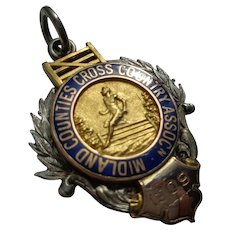 Antique English Sports Medal in Sterling + 9 c Gold 1909