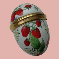 Enamel Egg by Halcyon Days with Strawberries