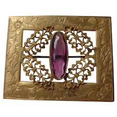 Victorian Pin, Gold Filled with amethyst stone 1880