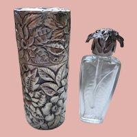 Sterling Perfume Bottle and Sterling Holder 1920