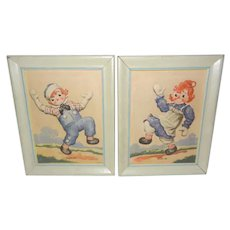 "1942 Raggedy Ann and Andy ""Puffy"" Pictures by Artograph"