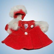 1950's Cosmopolitan Ginger Tagged Red Velvet Coat and Hat