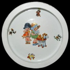 Darling Vintage Baby Dish with Children and Teddy Bear Design - Red Tag Sale Item