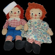"Nice Georgene Novelties 15"" Raggedy Ann and Andy Dolls"