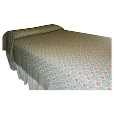 Vintage Reversible Woven Wool and Linen Double Bed Coverlet Pink & Seafoam Green