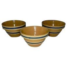 "Three Rare Small Nesting Vintage Blue Banded Yellowware Bowls 4 3/4"" X 2 3/4"""