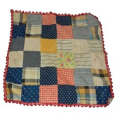 "Vintage 16"" X 16"" Doll Quilt with Trim"