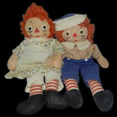 "1940's-1950's 15"" Georgene Raggedy Ann and Andy Dolls"