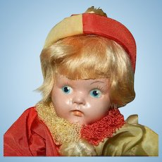 1949 Painted Eye Ginny Boy Doll in Original Clown Outfit