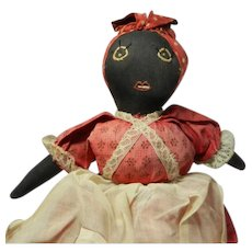 "Vintage 9"" 1940's African-American Handmade Cloth Doll"