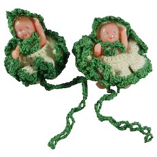 "Two 2 1/4"" Renwal Shade Pulls Baby Dolls with Crocheted Outfits"