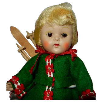 1953 Vogue Strung Ginny Doll in #49 Gadabouts Series Ski Outfit