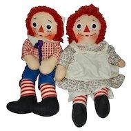 "Early 1960's Wonderful 15"" Knickerbocker Raggedy Ann and Andy Dolls"