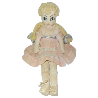 """Lovely 18"""" Handmade 1930'3-1940's Blonde Braids Doll"""