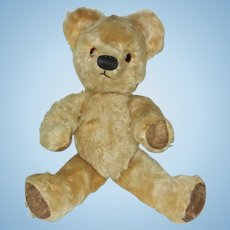 "Vintage 16"" Light Gold Mohair FJ Chad Valley Co. Ltd. Teddy Bear with ID"