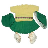 "1950's Knitted Skating Outfit for a 15-16"" Hard Plastic or Compo Girl Doll"