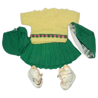"""1950's Knitted Skating Outfit for a 15-16"""" Hard Plastic or Compo Girl Doll"""