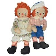 """19"""" Georgene Raggedy Ann and Raggedy Andy Dolls"""
