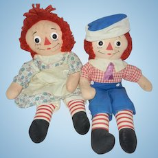 "Early 1960's Pair of Knickerbocker 15"" Raggedy Ann and Andy Dolls"