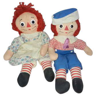 """Early 1960's Pair of Knickerbocker 15"""" Raggedy Ann and Andy Dolls"""