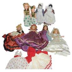 "8"" 1940's Hard Plastic Dolls, Duchess Doll Co. + Clothes"