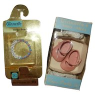1950's Vogue Ginnette MIB Baby Beads and MIB Pink Shoes/White Socks