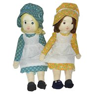 2 Early 1970's Hand Crafted Holly Hobbie Sister Dolls
