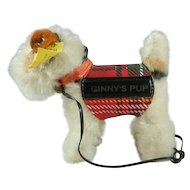 """1950's Steiff """"Ginny's Pup"""" Dog with Button, Bell, Neck Ribbon and Yellow Tag"""