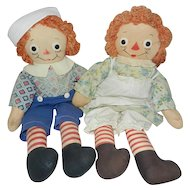 "1940's 19"" Georgene Raggedy Ann and Andy Dolls"